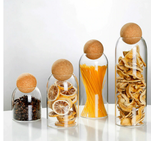 Glass jar with cork