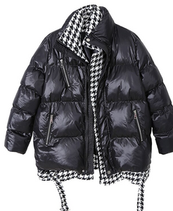 Houndstooth lined puffer