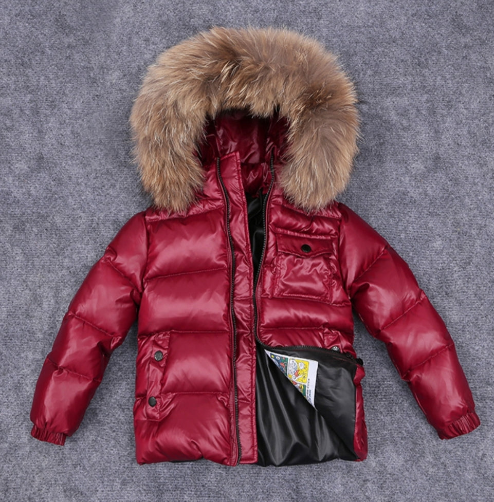 MC down coat with raccoon fur