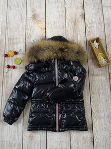 MC shiny down coat with natural fur