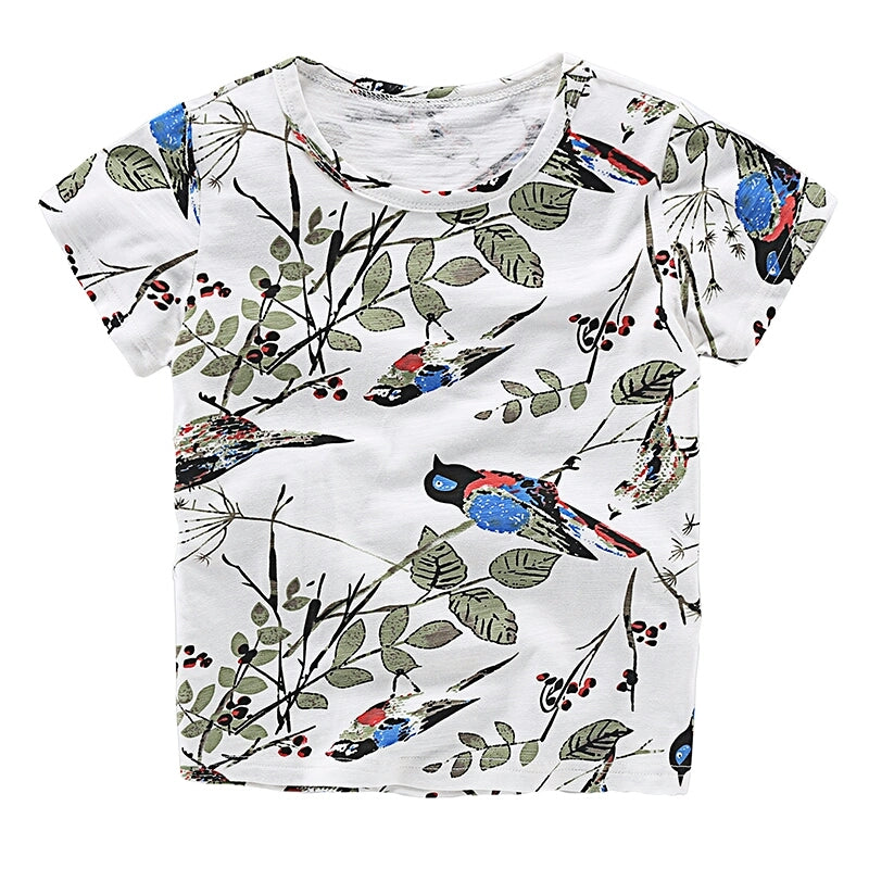 Birds and leaves tee