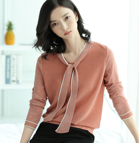 Shimmer tie sweater