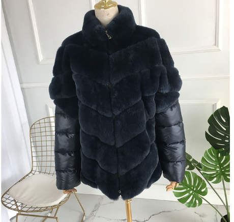 Rabbit fur coat with removable sleeves