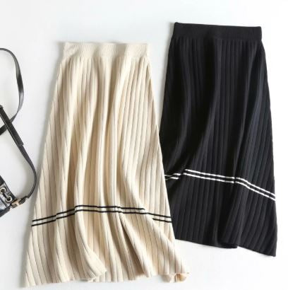 Rib knit stripe skirt