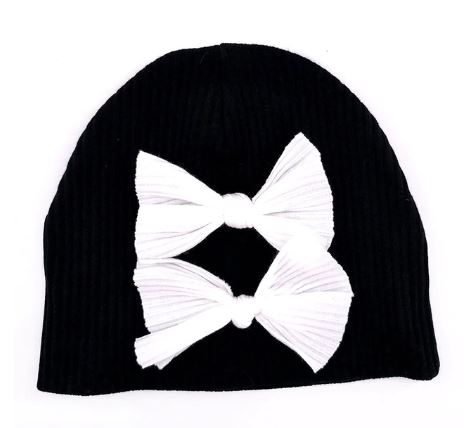 Ribbed double bow beanie