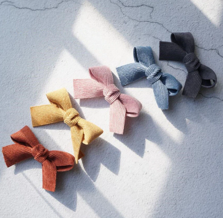 Corduroy bow clip 5 pc