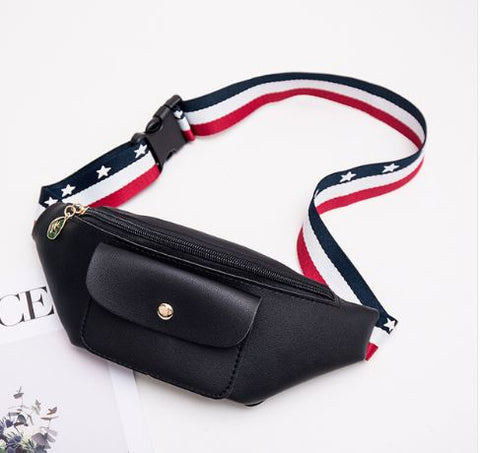 Striped ribbon fanny pack