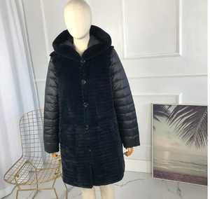 Rabbit fur reversible long coat
