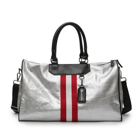 Metallic stripe overnight bag