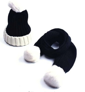 Pom pom hat and scarf set