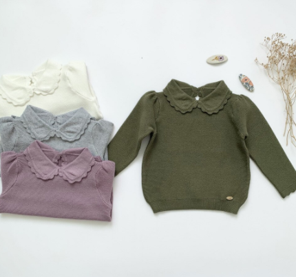 Knit peter pan collar top