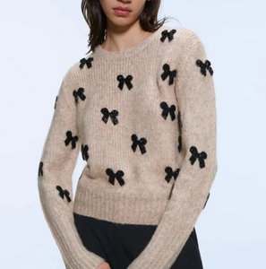 Beaded bows sweater