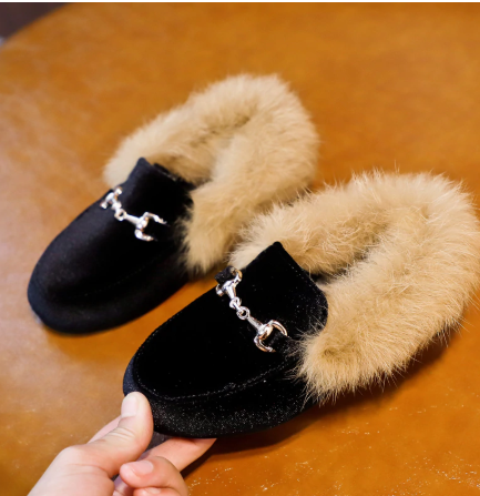 Velvet fur lined slippers