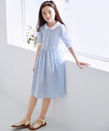 Peter pan collar pinstripe dress