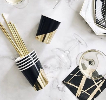 Black and gold tableware