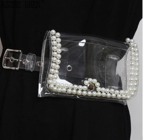 Transparent pearl belt bag