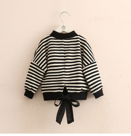 Bow back striped sweatshirt