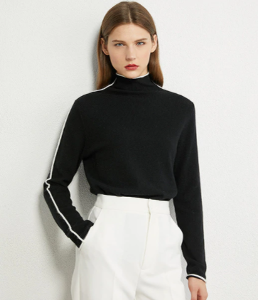 Contrast edge high neck sweater