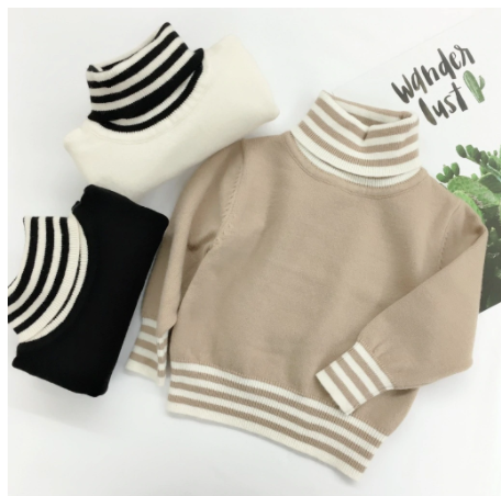 Stripe detail turtleneck