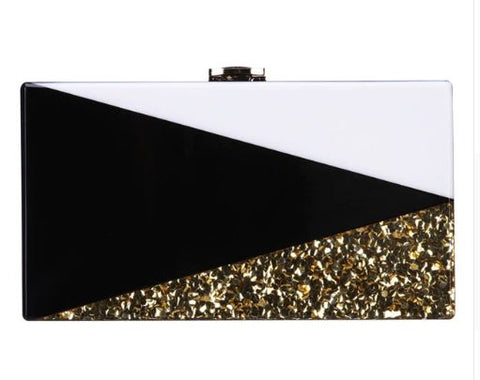 Geometric sequin clutch