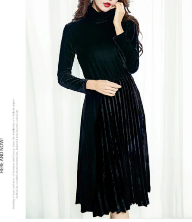 Velour pleated dress