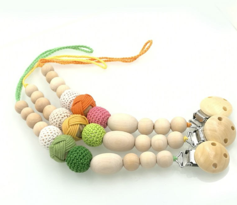 Crochet pacifier clip 3 pc