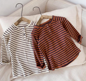 Striped ribbed henley