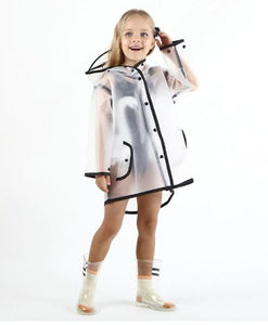 Transparent raincoat with black trim