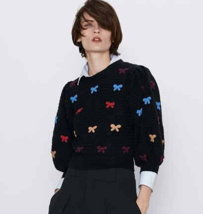Embroidered bow sweater