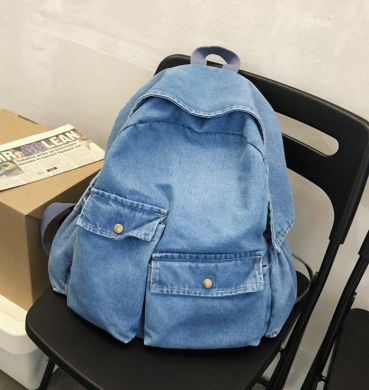 Denim pockets backpack