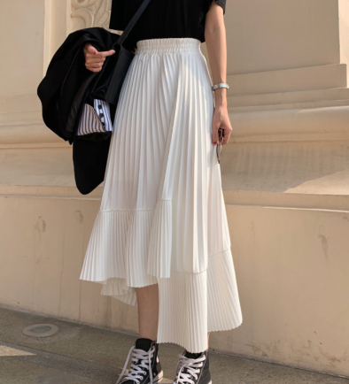Pleated hi lo skirt