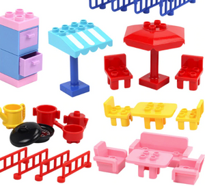 Building blocks dollhouse parts