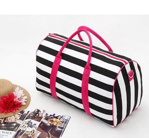 Striped overnight bag
