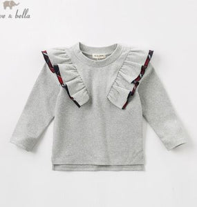 Dave Bella plaid ruffle sweatshirt