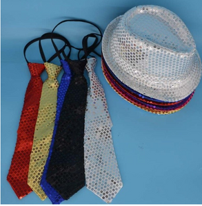 Sequin light up hat and tie set