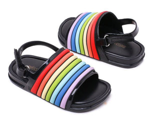 Rainbow stripe jelly shoes