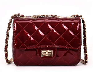 Patent quilted crossbody bag