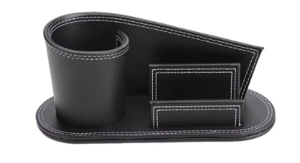 Leather stationary holder