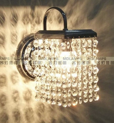 Square crystal wall lamp