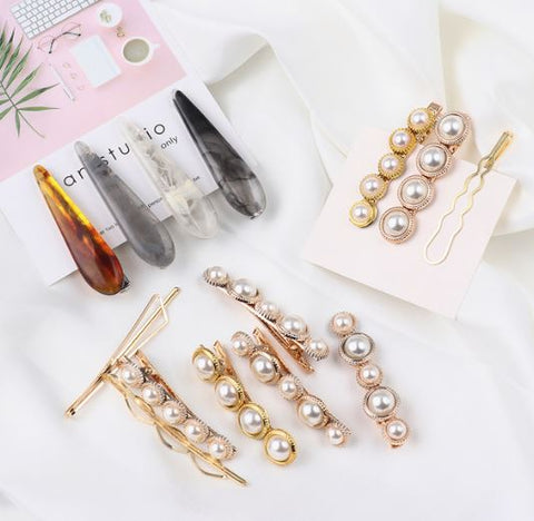 Pearl and acrylic hair clip- 3 pc.