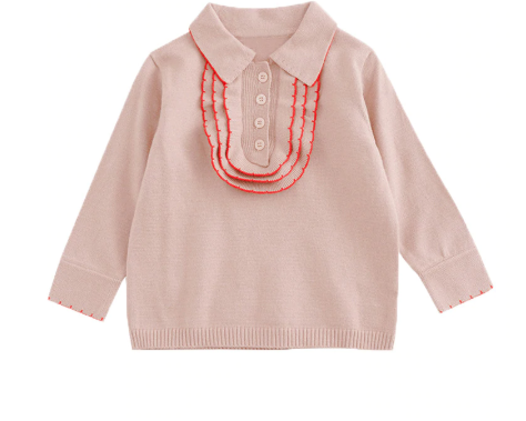 Knit ruffle polo