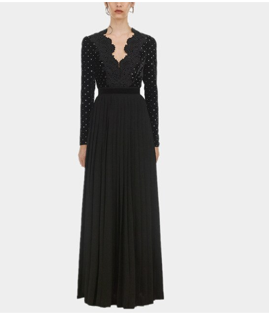 Velvet pleated maxi dress