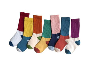 Ribbed colorblock socks