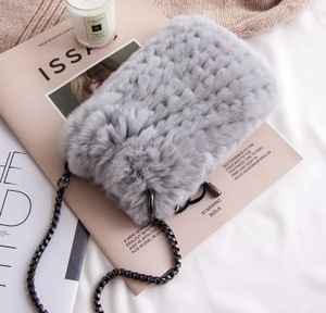 Rabbit fur phone bag