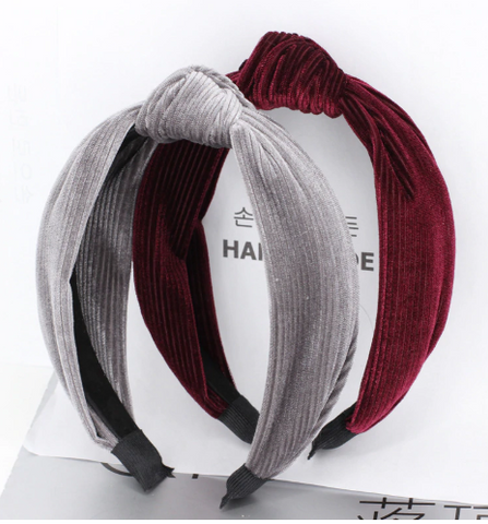 Velvet ribbed knot headband