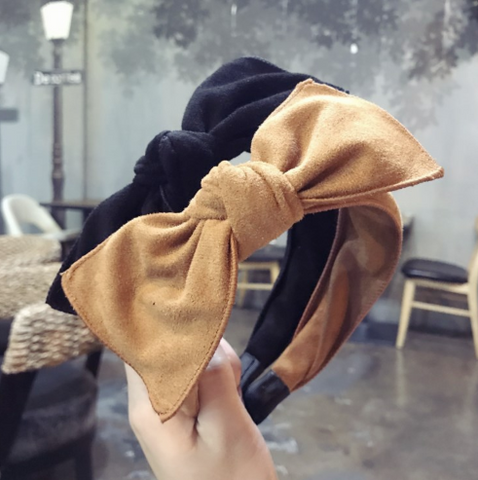 Suede bow headband