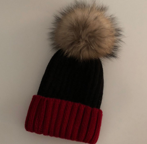 Colorblock pom pom hat