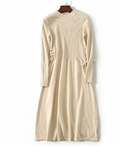 Ribbed side tie dress
