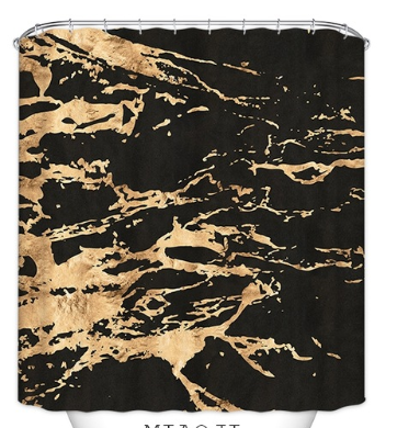 Gold accent shower curtain