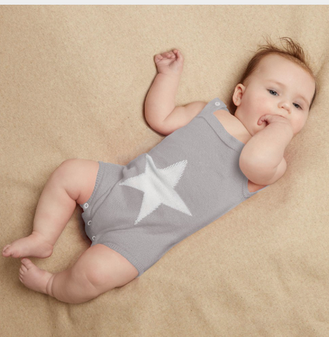 Star knit romper